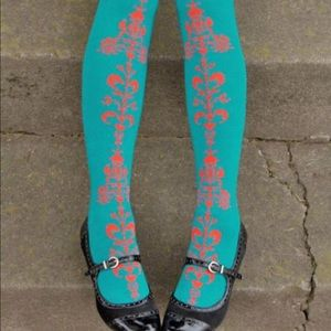 Tabbisocks | Teal Damask Over The Knee Socks | 9